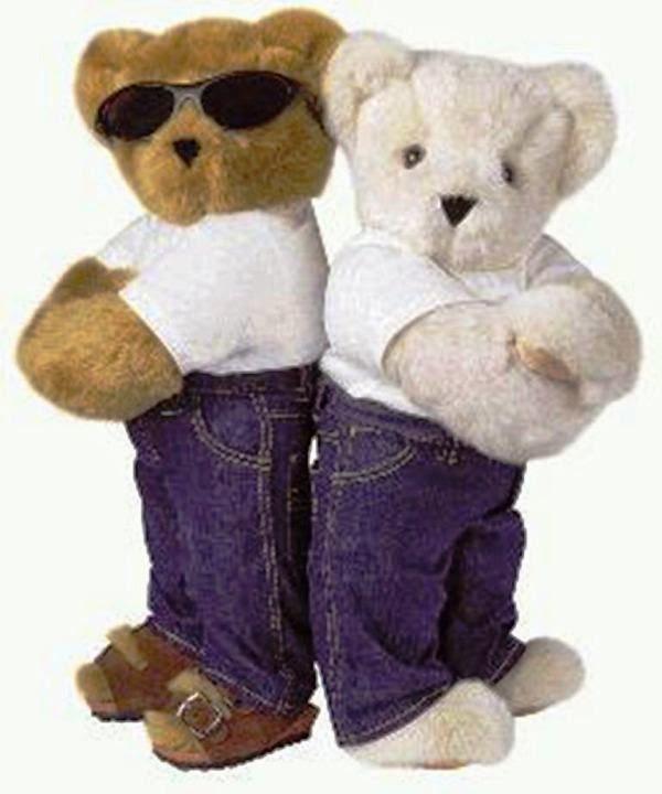 Boneka beruang pakai kacamata berpasangan