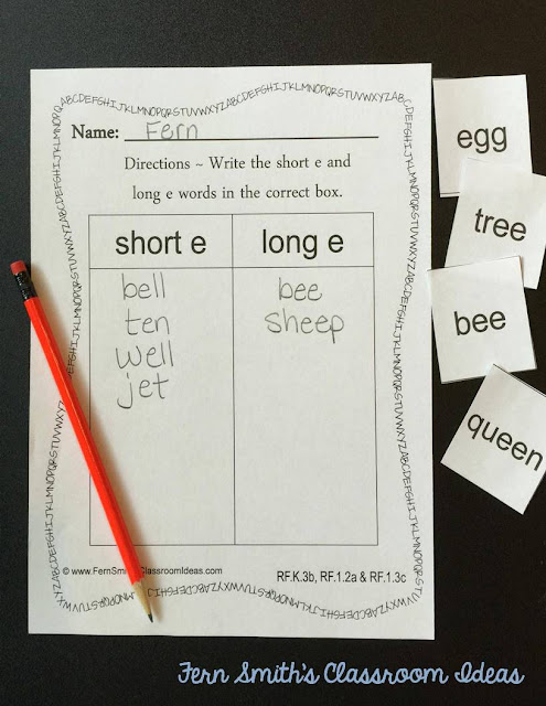 Fern Smith's Classroom Ideas Vowel Sorting Short e & Long e Center Games and Interactive Notebook Activities at TeachersPayTeachers, TpT.