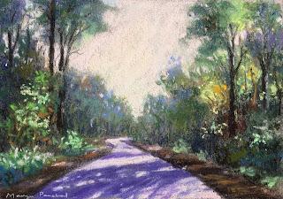 Soft pastel painting of a scene from Karnala Bird Sanctuary
