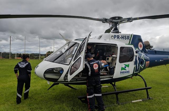 Roncador: Aeronave do Samu transporta vítima de infarto