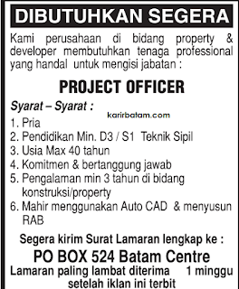 Lowongan Kerja PO BOX 524 Batam Centre