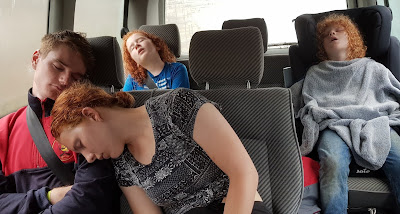 Knowsley Ultimate Brick Safari 2 adults and 2 children Asleep in van on the way home