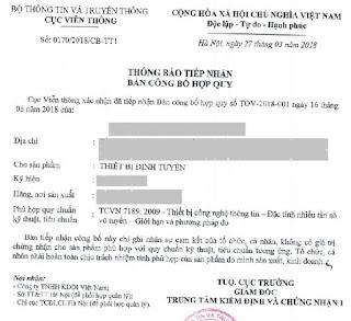 Mẫu giấy Chứng nhận hợp quy cho thiết bị định tuyến Router mạng LAN (không có thu phát sóng vô tuyến)