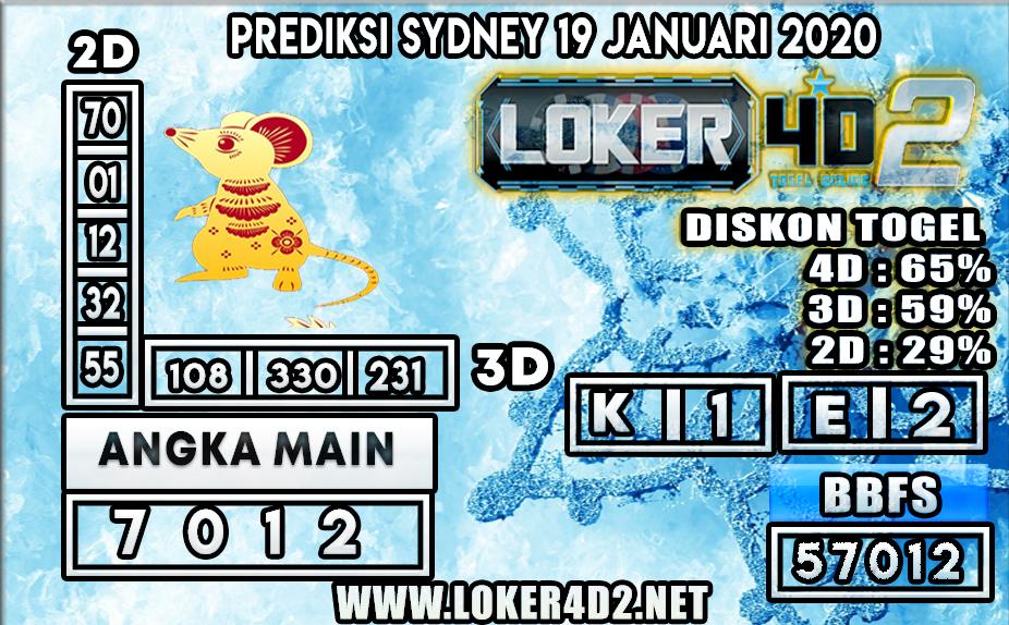 PREDIKSI TOGEL SYDNEY LOKER4D2 19 JANUARI 2020