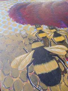 The Honeybee Tribe Original Canvas Painting with Red Trees