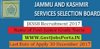 Jammu & Kashmir Services Selection Board Recruitment 2017– 333 Junior Grade Nurse , Senior Grade Nurse