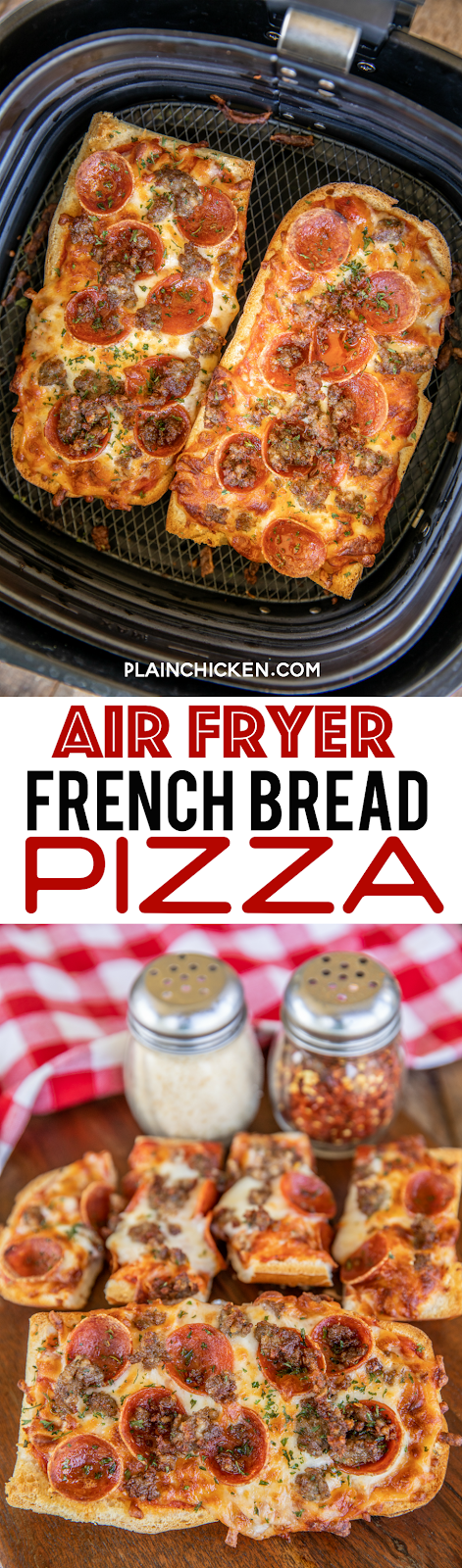 collage of 2 photos of french bread pizza