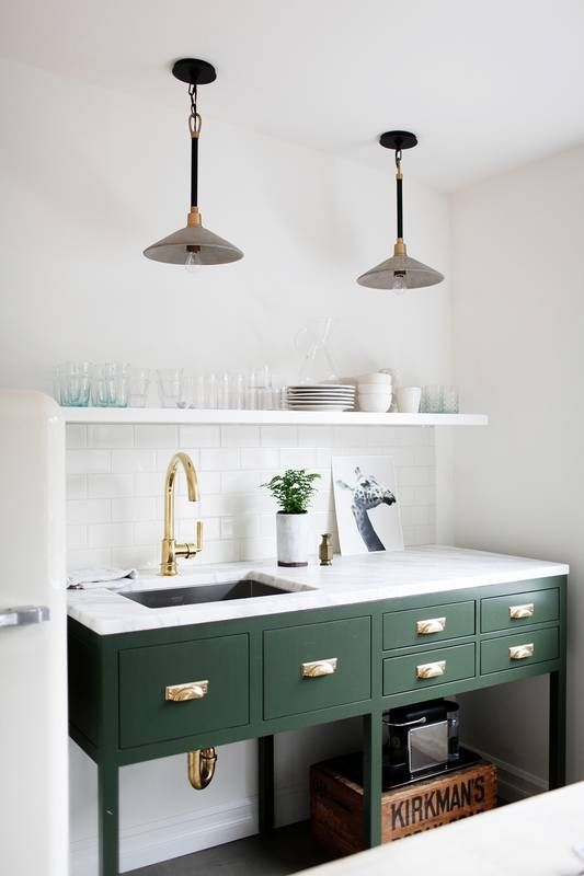 Dark Green painted kitchen cabinets