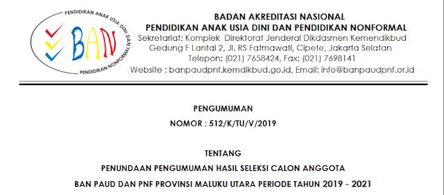 Pengumuman Penundaan Hasil Seleksi Calon Anggota BAN PAUD PNF Prov. Maluku Utara 2019