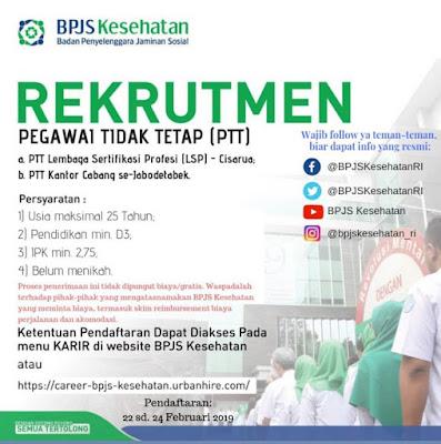 Rekrutmen PTT BPJS Kesehatan Terbaru Tahun 2019