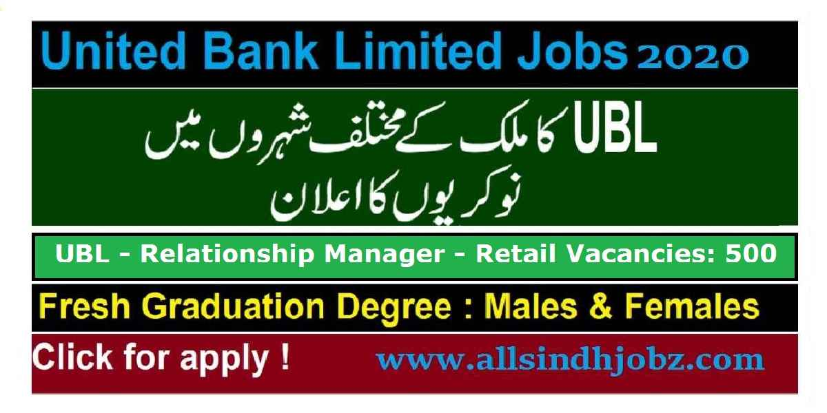 United Bank Limited (UBL) Jobs July 2020 for Relationship Manager - Retail