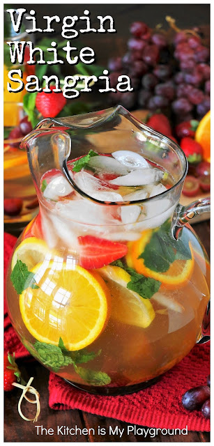 Virgin White Sangria ~ A tasty, beautiful, no-alcohol version of sangria perfect to make those kiddos feel extra special.  And hey, the grown-ups will love it, too!  www.thekitchenismyplayground.com