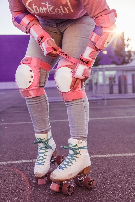 Liana of @findingfemme in @impalarollerskates and protective gear #rollerskates #rollerskating