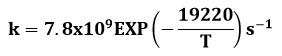 Expresión experimental de la constante cinética de la reacción