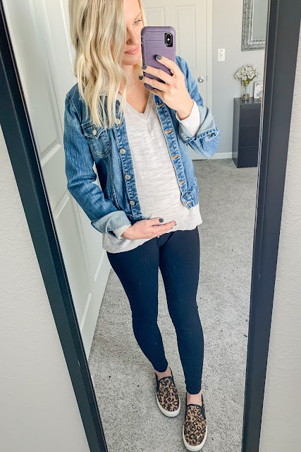 Sweater with denim jacket layered