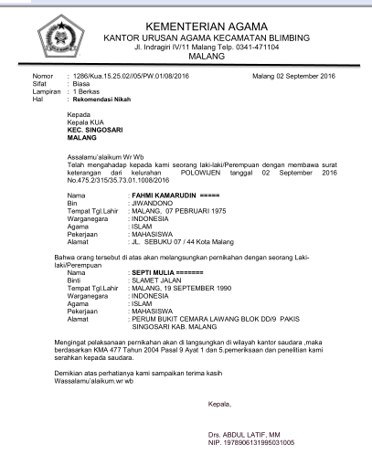 Contoh Surat Rekomendasi Pindah Nikah Kua Blimbing Kota Malang