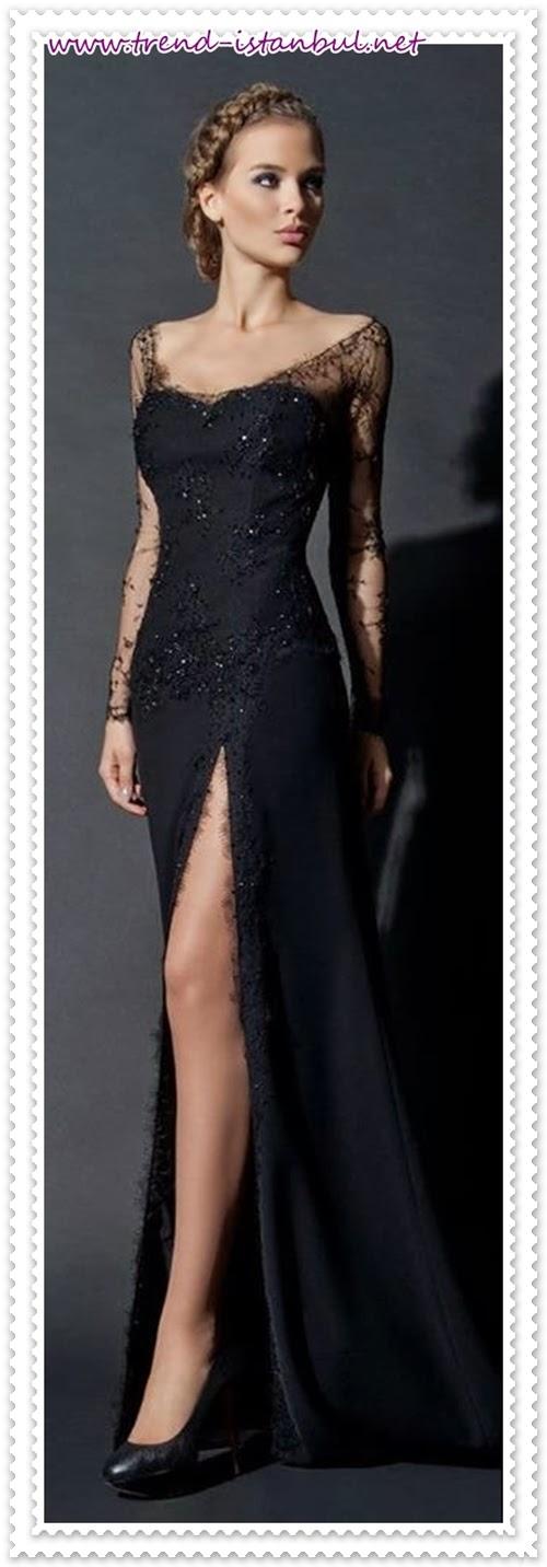 2014 siyah dantel abiye modelleri