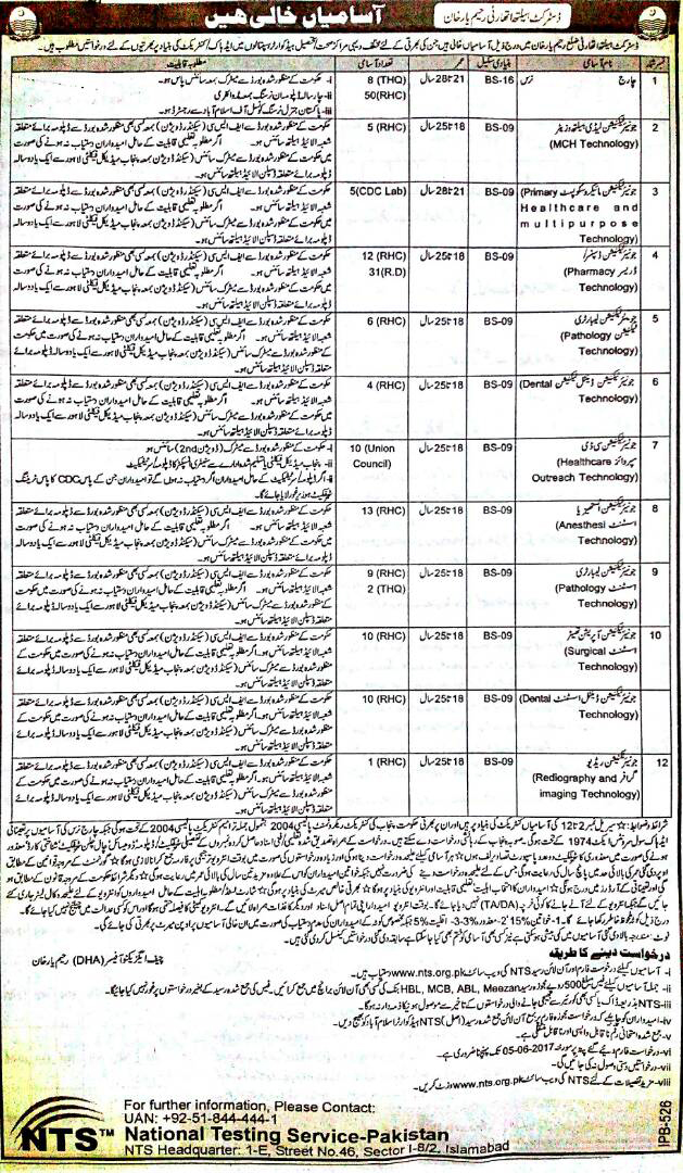jobs in District Health Authority Rahim Yar Khan 17 may 2017