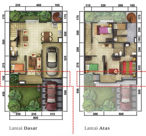 Denah rumah minimalis ukuran 8x15 meter 5 kamar tidur 2 lantai