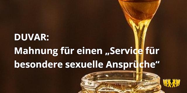 """Titel: DUVAR: Mahnung für einen """"Service für besondere sexuelle Ansprüche"""""""