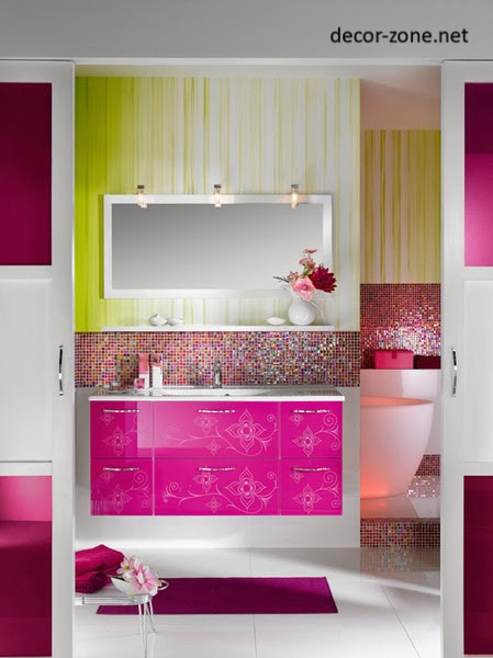 mirrors for colorful bathroom