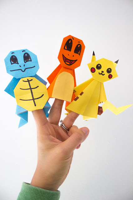how to fold super easy Pokemon Origami with kids: step-by-step directions to craft Charmander, Squirtle, and Pikachu