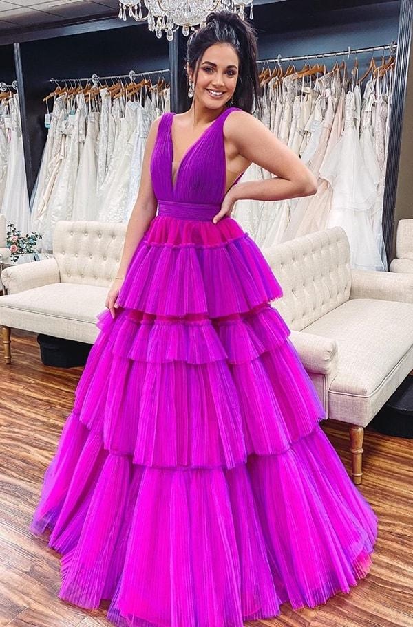 vestido de festa fúcsia e pink para madrinha de casamento