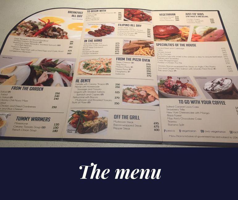 The Flying Pan's menu