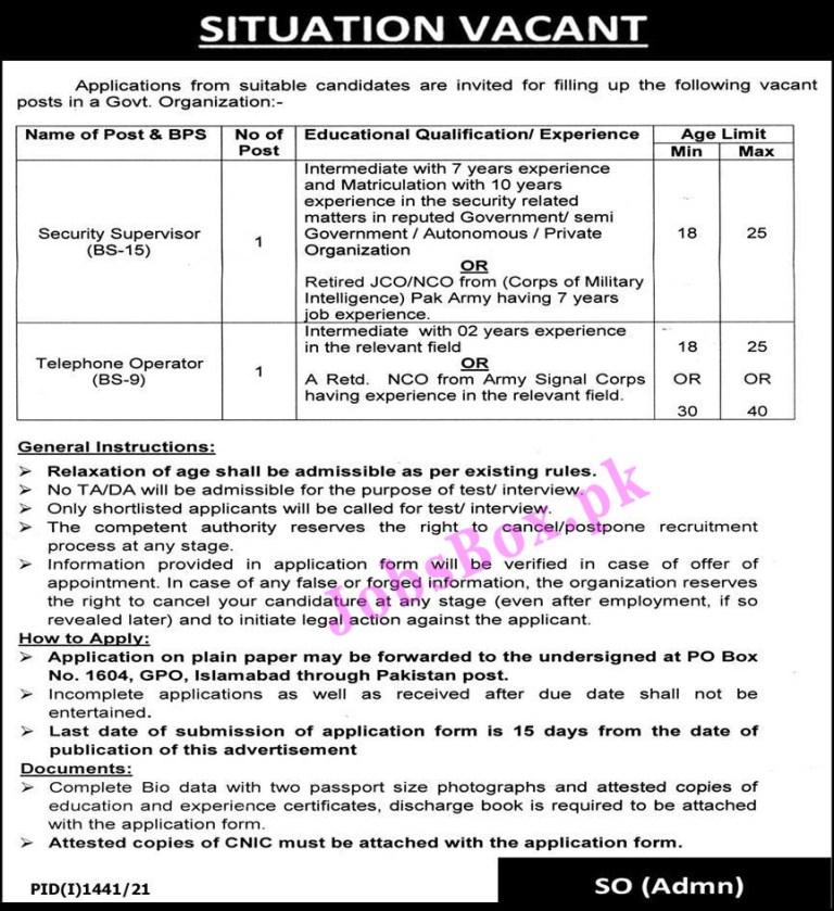 Government Organization PO Box No 1604 Islamabad Jobs 2021 in Pakistan