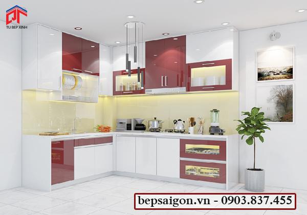 tủ bếp gia đình, tủ bếp chữ L, tủ bếp acrylic, tủ bếp hiện đại