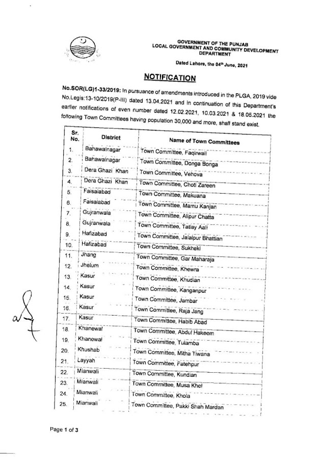 NOTIFICATION OF TOWN COMMITTEES HAVING POPULATION OF 30000 AND MORE