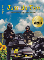 A picture of Just Us Two jacket front. a couple with a Gold Wing motorbike. Clouds and sunflowers