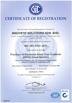 Innov8tif's Audit Conformity to ISO 27001:2013 Standards