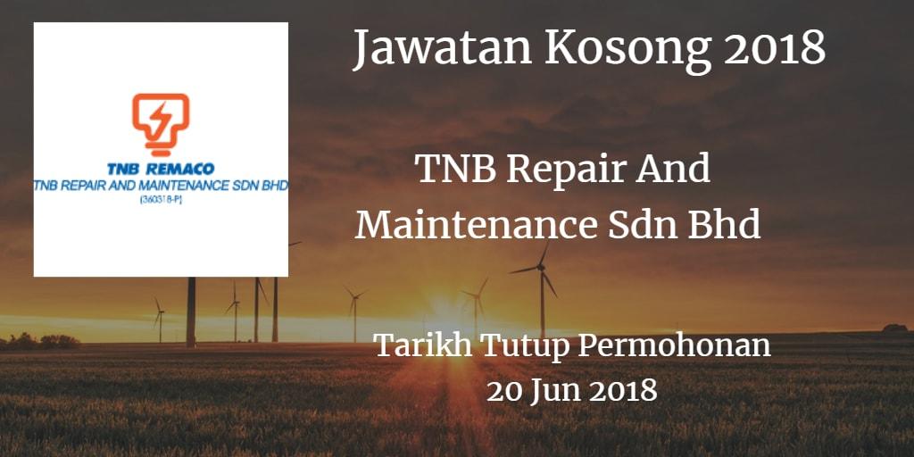 Jawatan Kosong TNB Remaco 20 Jun 2018