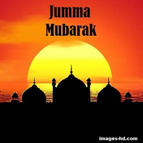 sunrise full sun with masjid as Jumma Mubarak DP
