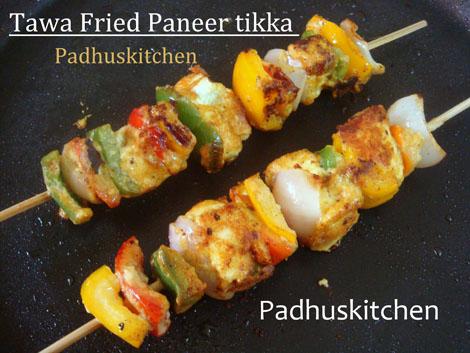 Paneer tikka using a tawa