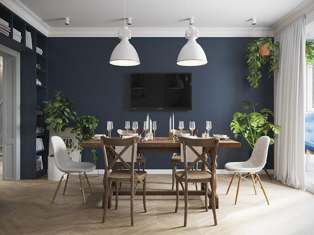 sufragerie cu perete albastru