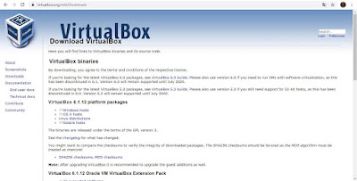 Buka situs web VirtualBox di https://www.virtualbox.org/wiki/Downloads