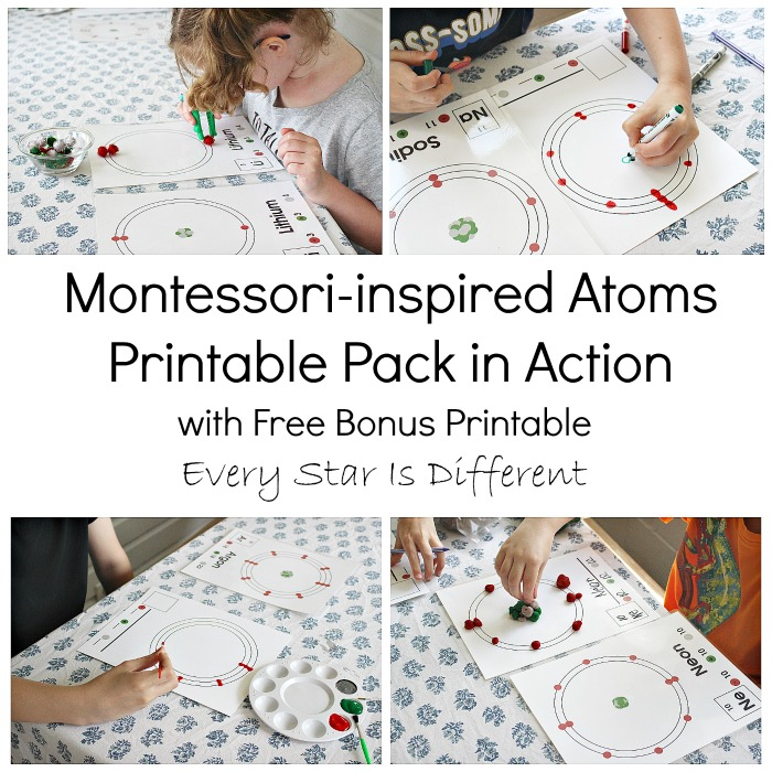 Montessori-inspired Atoms Printable Pack in Action with Free Printable