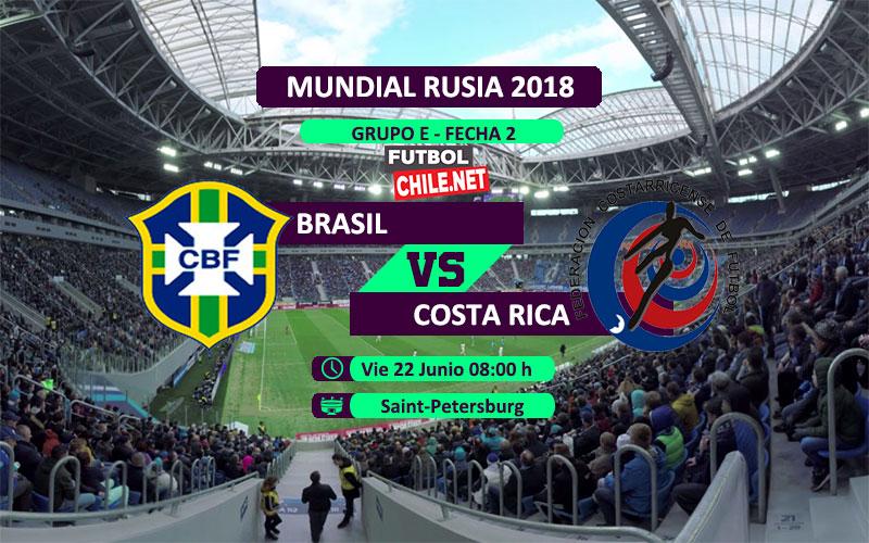 Brasil vs Costa Rica por la fecha 2 del grupo E del Mundial Rusia 2018
