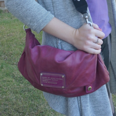 grey cardigan and Marc by Marc Jacobs Dr Q Convertible clutch in electric violet    awayfromtheblue