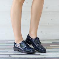 Pantofi dama Mavise albastri tip Oxford • modlet