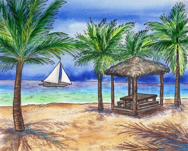 Tropical Paradise With Boat Beach Palm Trees and Gazebo watercolor painting