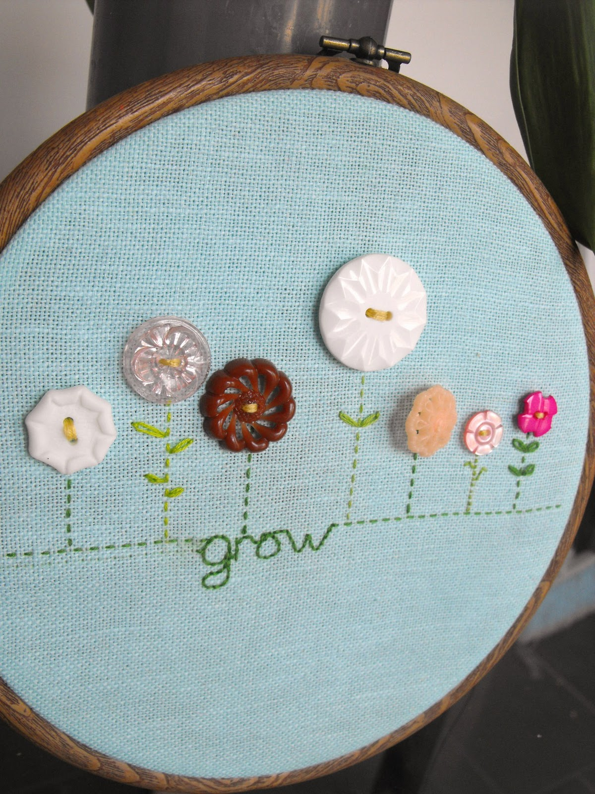 Ruby Murrays Musings Vintage Button Flower Embroidery Hoop
