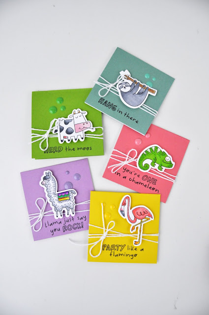 "CTMH ""Wild & Punny"" stamp and die set used to create animal cards. Cards are colored with Copic Markers. Visit www.jengallacher for more info! #copicmarkers #CTMH #cardmaker #jengallacher"