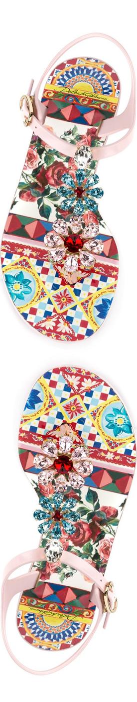 DOLCE & GABBANA Embellished Flat Sandal