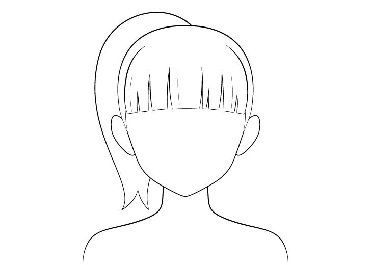 Gambar garis rambut kuncir kuda anime