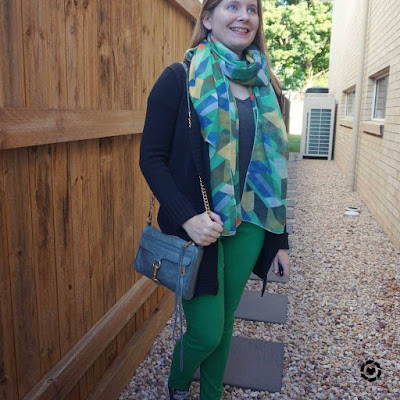green scarf matching skinny jeans school run winter outfit with blue bag | awayfromtheblue Instagram