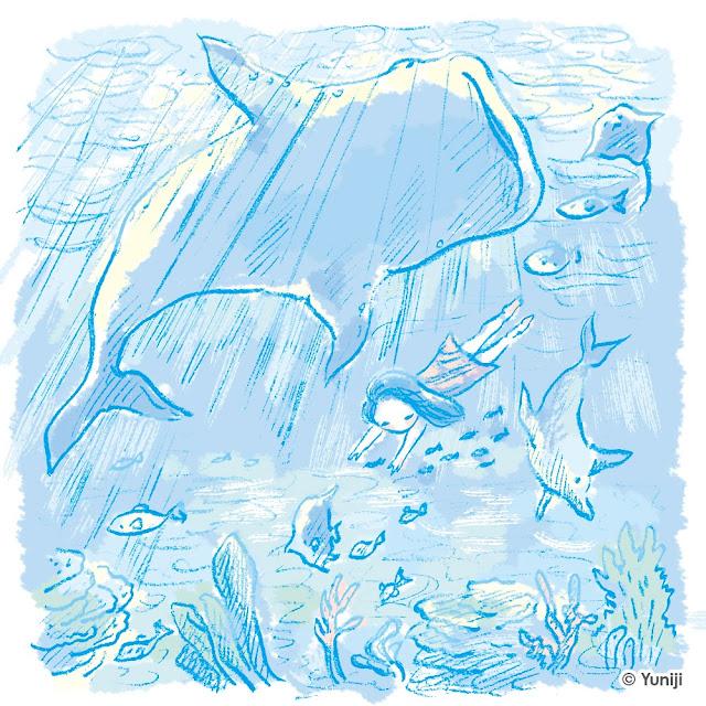 新作イラスト(手描きタッチ)海の生き物と泳ぐ子ども