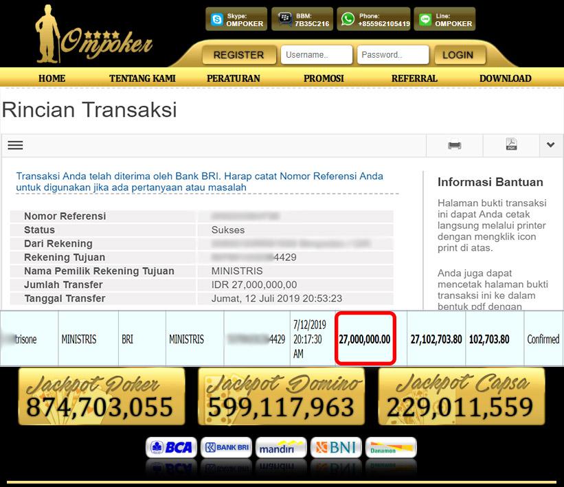 Selamat Kepada Member Setia Ompoker WD Rp 27.000.000